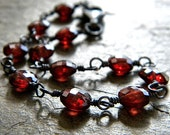 Garnet Bracelet, Crimson Red Garnet Coin Oxidized Sterling Silver Wire Wrapped Bracelet January Birthstone Garnet Jewelry- Cranberry Sauce