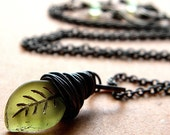 Green Leaf Necklace, Frosted Olive Green Glass Leaf Antiqued Brass Necklace Women's Jewelry Autumn Leaves Fall Fashion  - Gnome