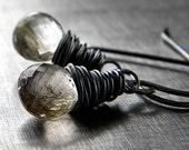 Golden Rutilated Quartz Oxidized Sterling Silver Earrings - Angelhair