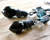 Wire Wrapped Earrings, Black Spinel and Green Mystic Quartz Oxidized Sterling Silver Dangle - Nox
