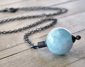 Aquamarine Necklace, Icy Sky Blue Aquamarine Oxidized Sterling Silver Necklace March Birthstone  - League