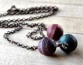 Cinnabar, Hunter and Plum Antiqued Brass Necklace - Casbah