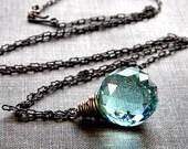 Sea Foam Green Leaded Crystal Onion Prism Antiqued Brass Necklace - Memento