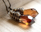 Crystal Earrings, Caramel Copper Brown Faceted Briolette Antiqued Brass Wire Wrapped - Goddess