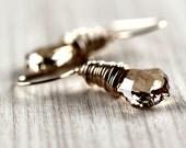 Wire Wrapped Earrings, Swarovski Golden Shadow Crystal 14k Gold Filled - Cosmic Fool