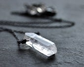 Quartz Point Necklace, Clear Rock Crystal Icicle Oxidized Sterling Silver Necklace - Fortress of Solitude