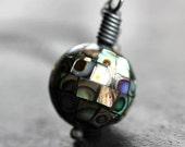 Abalone Pendant Necklace, Iridescent Abalone Shell Mosaic Oxidized Sterling Silver Necklace - Nebula
