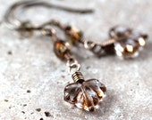 Maple Leaf Earrings, Autumn Copper Brown Czech Glass Antiqued Brass Dangle Earrings - Rake
