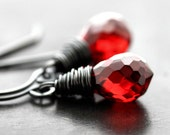 Red Earrings, Garnet Red Faceted Briolette Oxidized Sterling Silver Dangle Earrings - Fire Engine