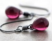 Plum Purple Drop Earrings, Amethyst Purple Glass Teardrop Oxidized Sterling Silver Earrings - Purple Rain