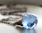 Sky Blue Crystal Necklace, Denim Blue Leaded Crystal Onion Prism Antiqued Brass Necklace - Memento