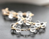 Crystal Quartz Bracelet, Diamond Clear Rock Quartz 14k Gold Filled Wire Wrapped Bracelet Spring Fashion