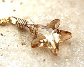 Gold Necklace, Golden Sand Swarovski Starfish Charm 14k Gold Filled Necklace Beach Wedding Summer Fashion