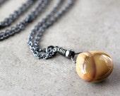 Camel Brown Mookaite Necklace, Caramel Khaki Tan Stone Oxidized Sterling Silver Necklace - Safari