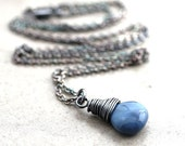 Denim Blue Opal Necklace, Cornflower Blue Stone Oxidized Sterling Silver Necklace Pastel Spring Fashion October Birthstone - Rainfall