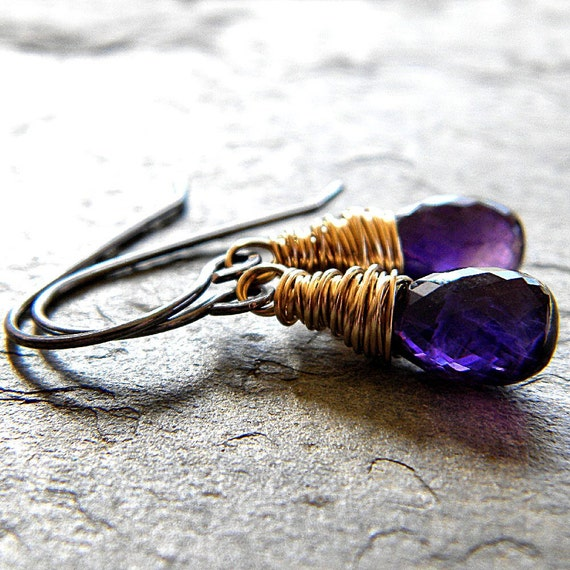 Violet Amethyst 14k Gold Filled and Oxidized Silver Earrings - Monarch