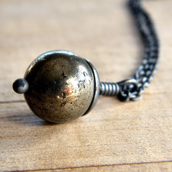 Golden Pyrite Oxidized Sterling Silver Necklace - Crater
