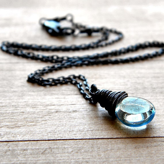 Blue Topaz Necklace, Smooth Sky December Birthstone Oxidized Sterling Silver Wire Wrapped - Wish