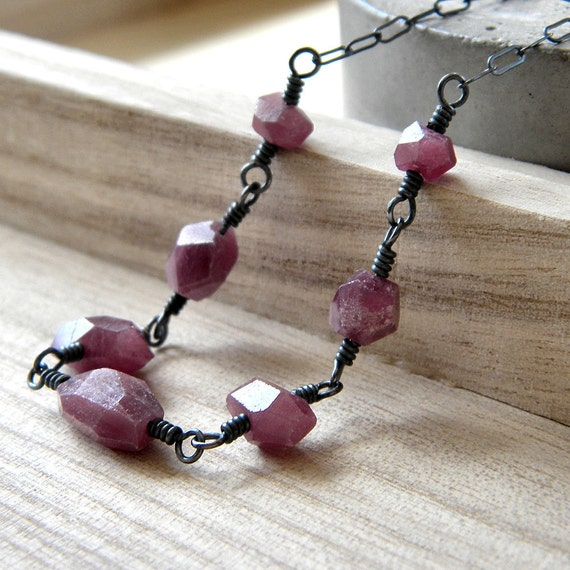 Ruby Necklace, Natural Ruby Faceted Nugget Oxidized Sterling Silver Necklace July Birthstone