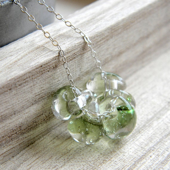 Spring Green Glass Necklace, Mint Green Tea Lampwork Teardrop Bright Sterling Silver Necklace Pastel Spring Fashion - Bamboo