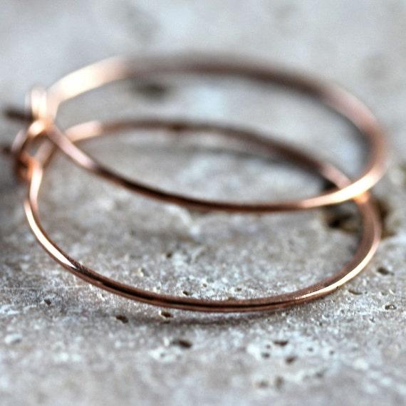 Simple Rose Gold Hoop Earrings, 14k Rose Gold Filled Hammered Hoops  - Kiki