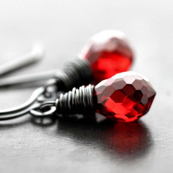 Red Earrings, Garnet Red Faceted Briolette Oxidized Sterling Silver Dangle Earrings - Fire Engine