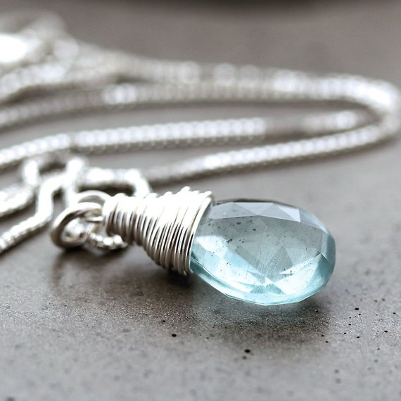 Aquamarine Necklace, Sky Blue Aquamarine Sterling Silver Necklace March Birthstone Pastel Spring Fashion Aquamarine Jewelry - Water Sign