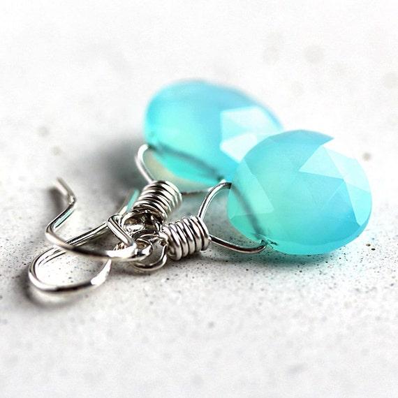Aqua Blue Chalcedony Earrings, Sky Blue Chalcedony Oxidized Sterling Silver Earrings Spring Fashion - Cruise