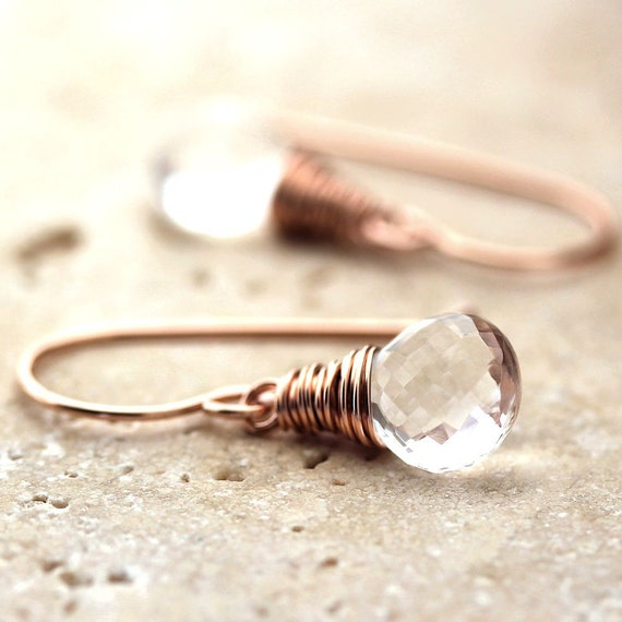 Crystal Quartz Rose Gold Earrings, Rock Quartz 14k Pink Gold Filled Wire Wrapped Earrings Rose Gold Jewelry Spring Fashion - Elucidation