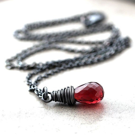 Red Garnet Necklace, Wine Red Stone January Birthstone Oxidized Sterling Silver Necklace Garnet Jewelry - Hunter Valley