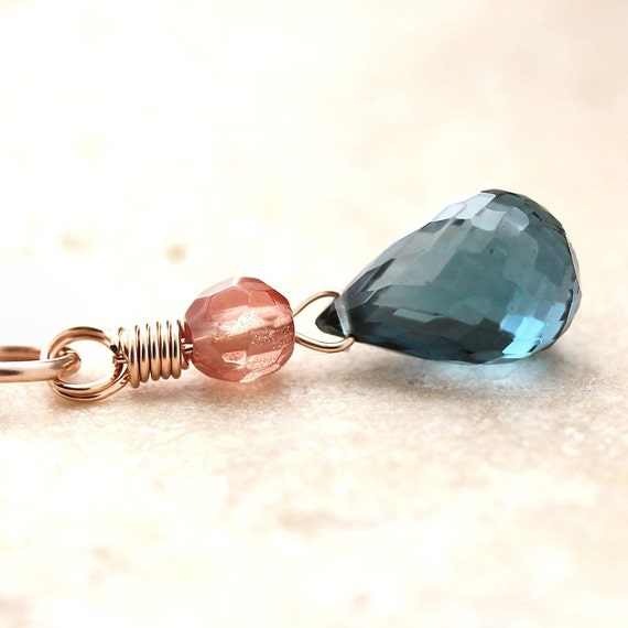 London Blue Topaz Necklace, Ocean Blue Topaz Peach Oregon Sunstone 14k Rose Gold Filled Necklace Rose Gold Jewelry