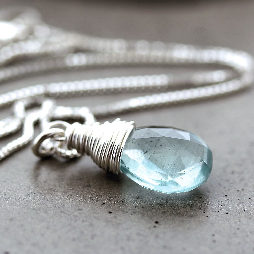 Aquamarine Necklaces: Aquamarine Necklace Sky Blue Aquamarine Sterling Silver