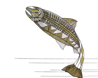 SALMON LINE DRAWING- Art by Thailan When