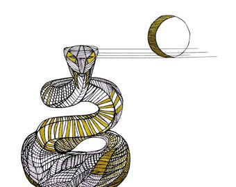 SNAKE LINE DRAWING- Art by Thailan When