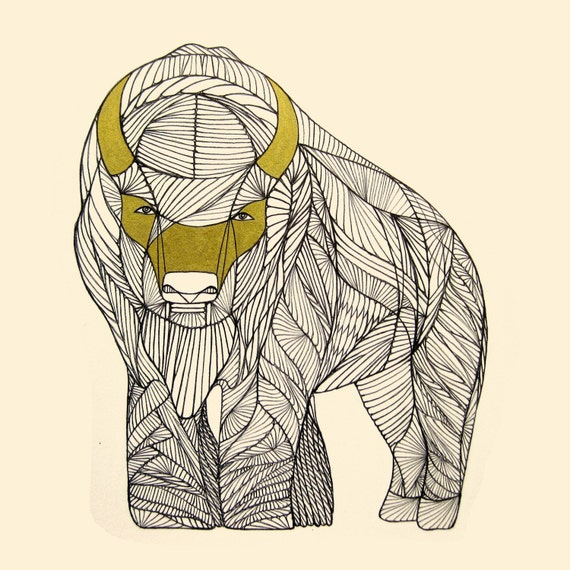 Line Drawing Etsy : Buffalo art print native animal line drawing by thailan when