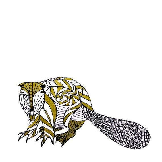 BEAVER LINE DRAWING- Art by Thailan When