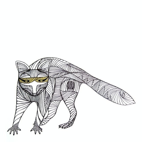 Line Art Etsy : Raccoon line drawing art by thailan when
