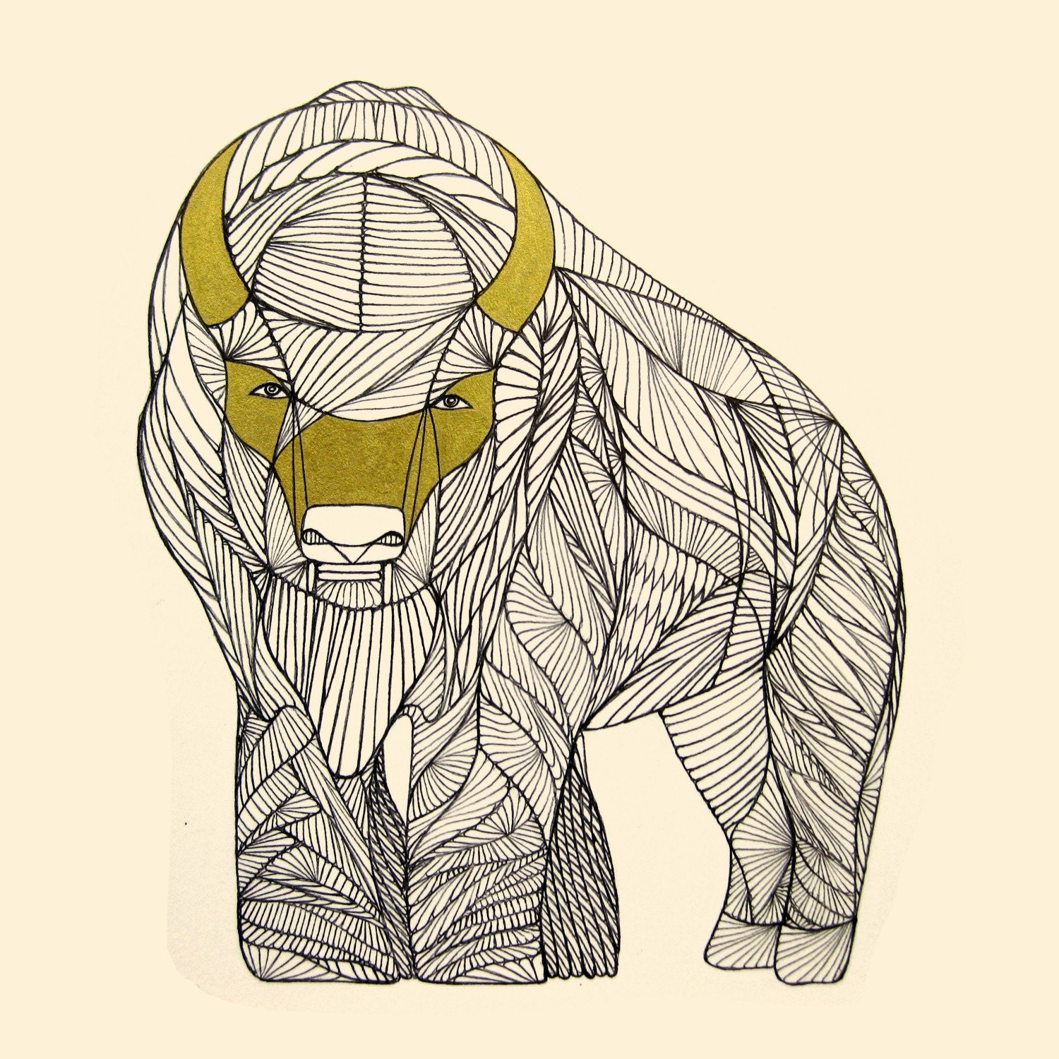 Line Drawing Photo : Buffalo art print native animal line drawing by thailan when