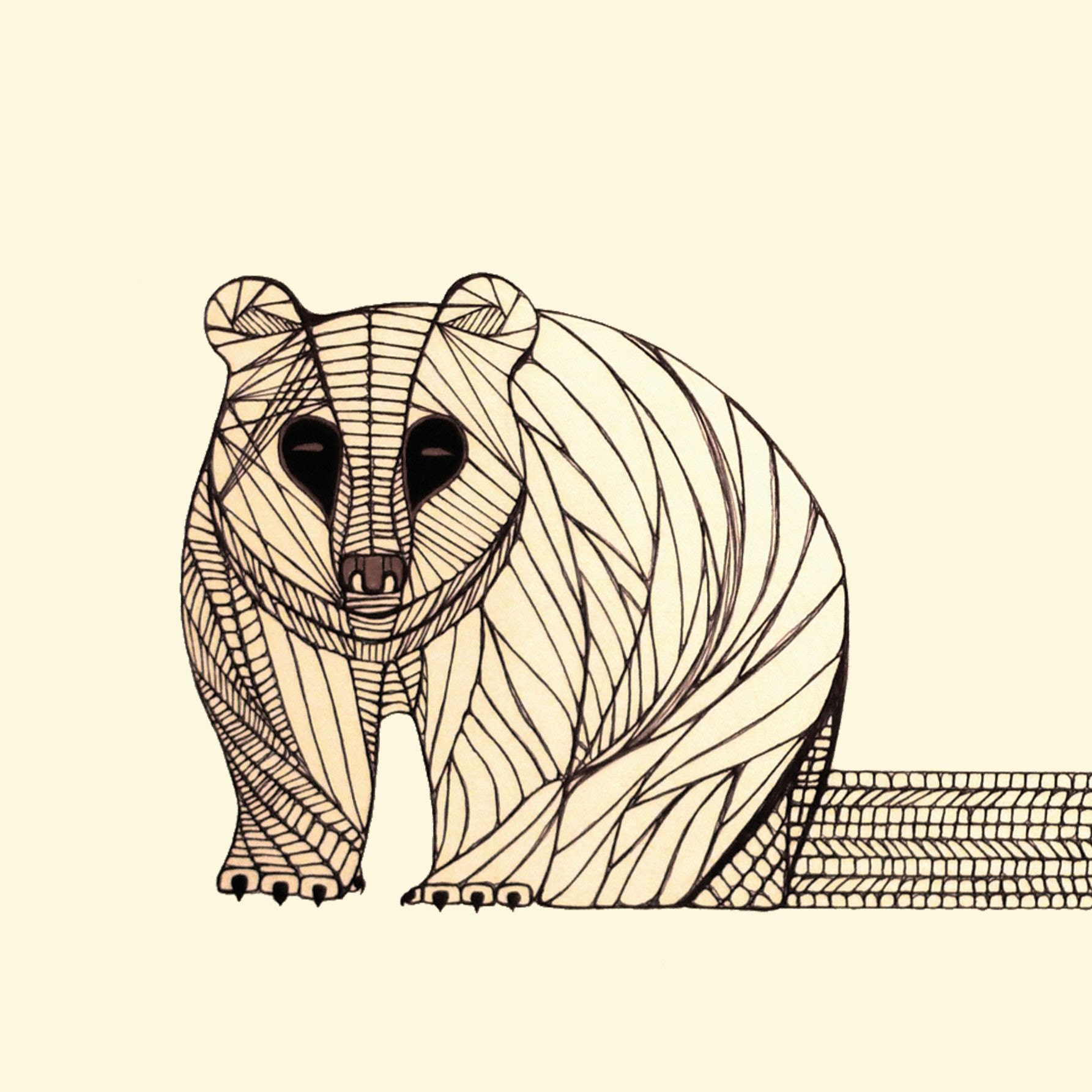 Line Drawing Photo : Bear art print native animal line drawing by thailan when