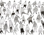 Beautiful people / Group of people / Crowed / Pen drawing / Black and white / All together / Funny characters / Everybody