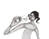 Soap bubble / ORIGINAL ILLUSTRATION / Gesture / female body / Funny hair cut / Girl / Woman / Black and white / Delicate