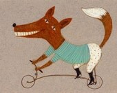 Bicycle fox / ORIGINAL ILLUSTRATION / Animal drawing / Beige background / Fox with bicycles / Circus