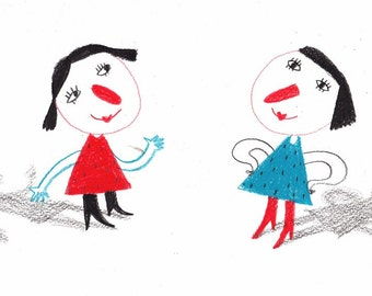 Shadows and girls / ORIGINAL ILLUSTRATION / Girls playing / Children Illustration / Red noses / Character Design