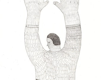 turn round / ORIGINAL ILUSTRATION /  Pen drawing / Put your hands up / Human form / Black and white / Gesture