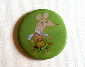 Pocket Mirror  / from tosya  illustration green Mouse on a bike