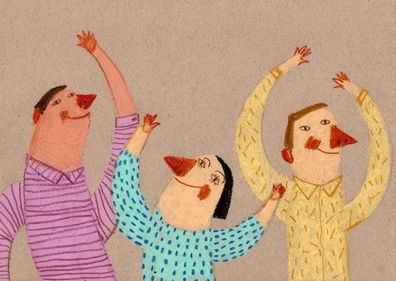 Beautiful World / original drawing  / ORIGINAL ILLUSTRATION / Children decor / kids art / Beige background / Dancing around / Red noses
