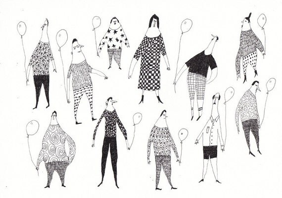 Flying balloons / ORIGINAL ILLUSTRATION / Pattern / Joke / People holding baloons / Group of people / Crowed of people