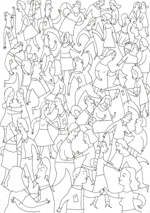 weddings guests / ORIGINAL DRAWING /Wedding illustration/  black and white illustration / Party / Dancing / Thin lines / Delicate
