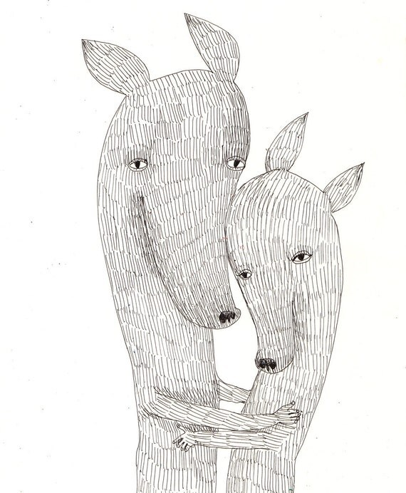 Hold me close / ORIGINAL ILLUSTRATION /  Pen drawing / Hold me tight / Black and white / Scribble / Animals drawings