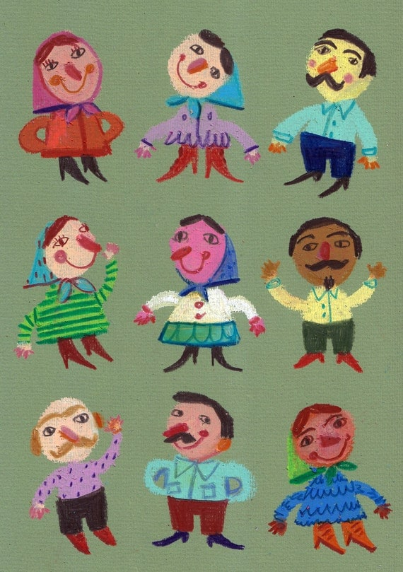 Mustache man with grandma / original PASTEL drawing / happy people on green / colorful / pattern -kids drawings